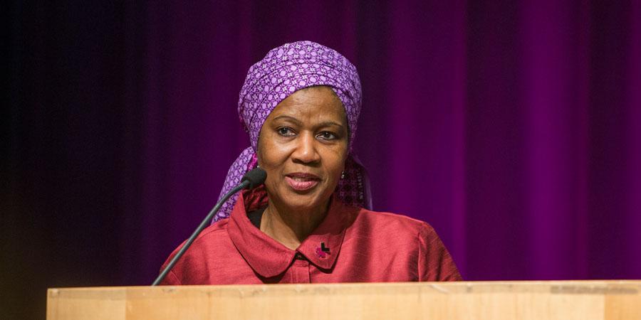 Kuvassa on UN Womenin pääjohtaja Phumzile Mlambo-Ngcuka