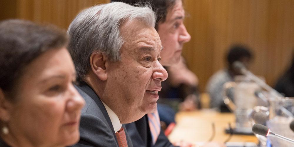 Kuvassa puhuu YK:n pääsihteeri António Guterres